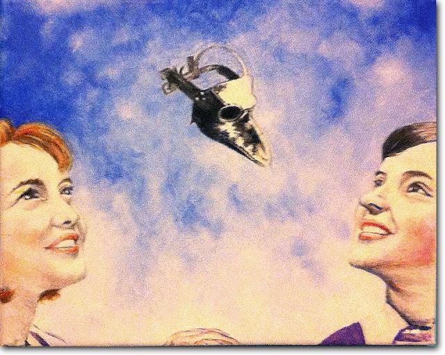 2 children gaze up to a bird mask by paintwalk