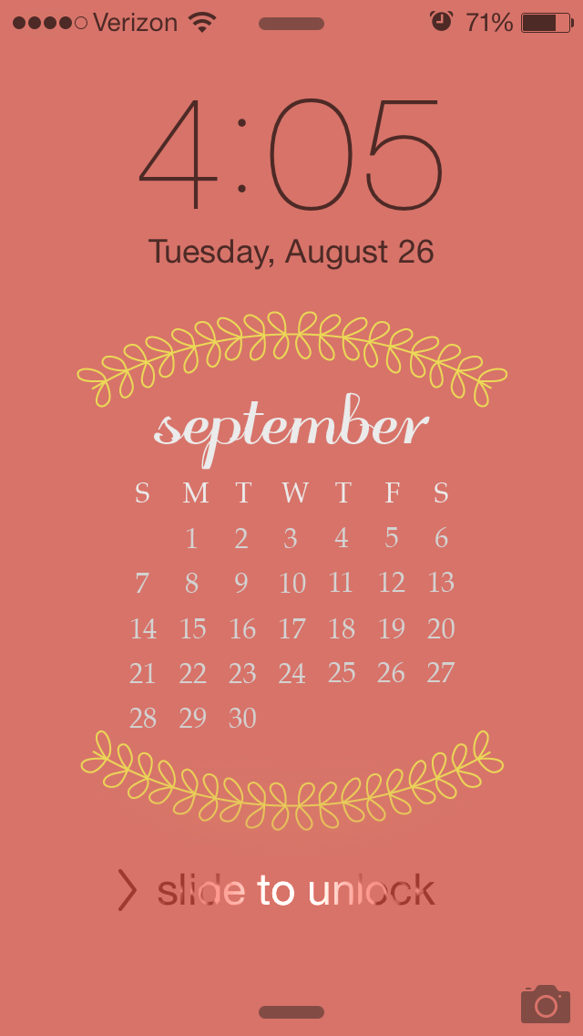 Calendar Lockscreen : September iphone lock screen calendar playful vines