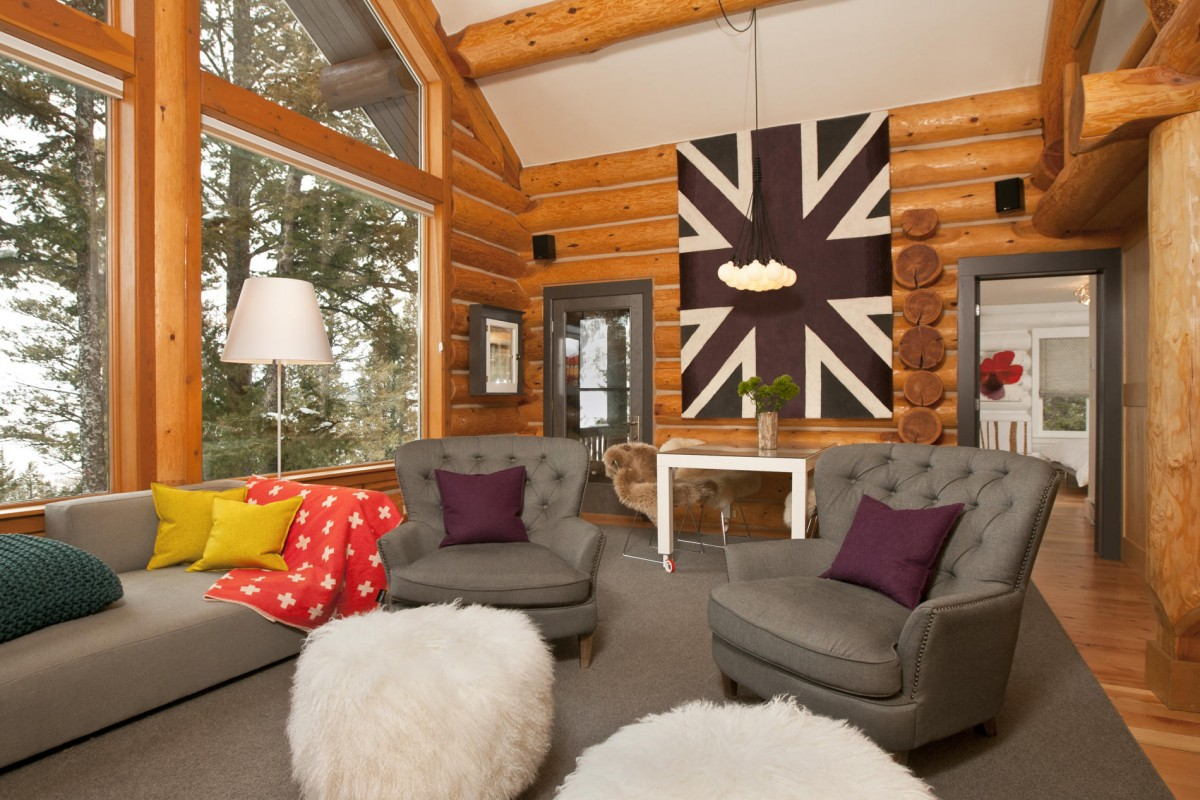 Beyond the aisle home envy log cabin interiors for Modern log home interiors