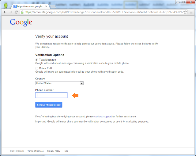 Google App Engine: Verify account