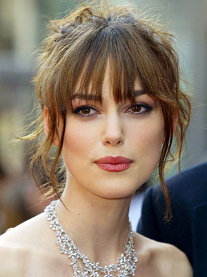 bangs, fringe, hair, hairstyles, hair inspiration, top knot, bun, bangs with bun, bangs with top knot, keira knightly