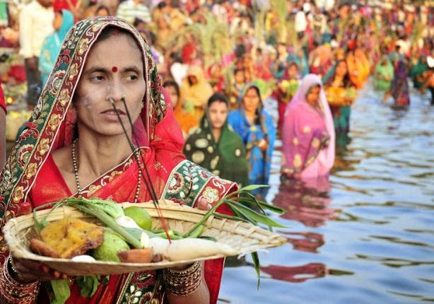 Women In Indian Saree during Chhath Puja