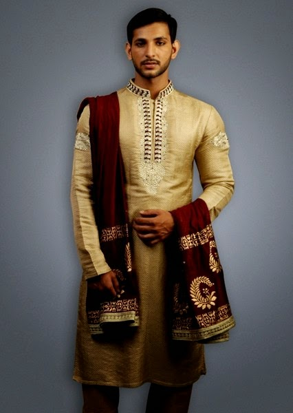 Mehndi Outfits For Guys : Dulha mehndi dress fashion by deepak perwani gents