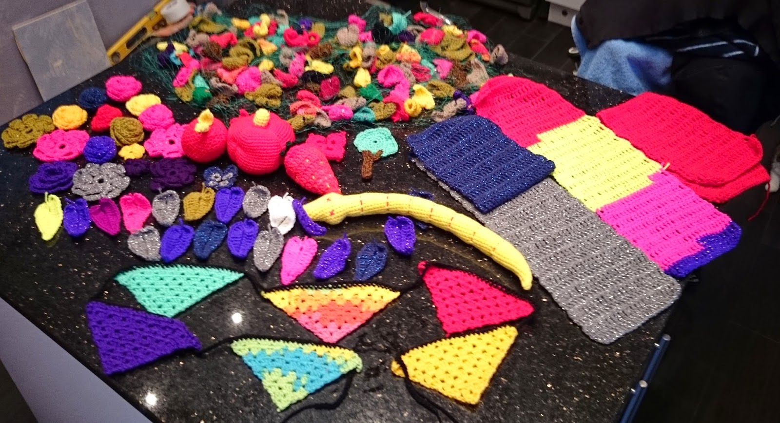 crochet yarn bomb yarnbomb mystical woodland world record breaker little havens hospice charity garden