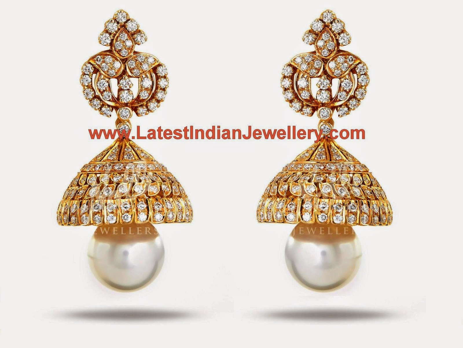 Pearl Drops Diamond Jhumkis