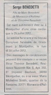Décès Serge BENEDETTI