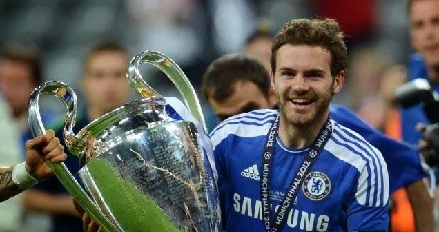 Juan Mata with the Champions League trophy