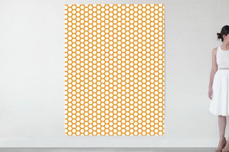 Minted, minted fabric, hexigon pattern, geometric fabric, orange, reupholstered, upholstery, diy