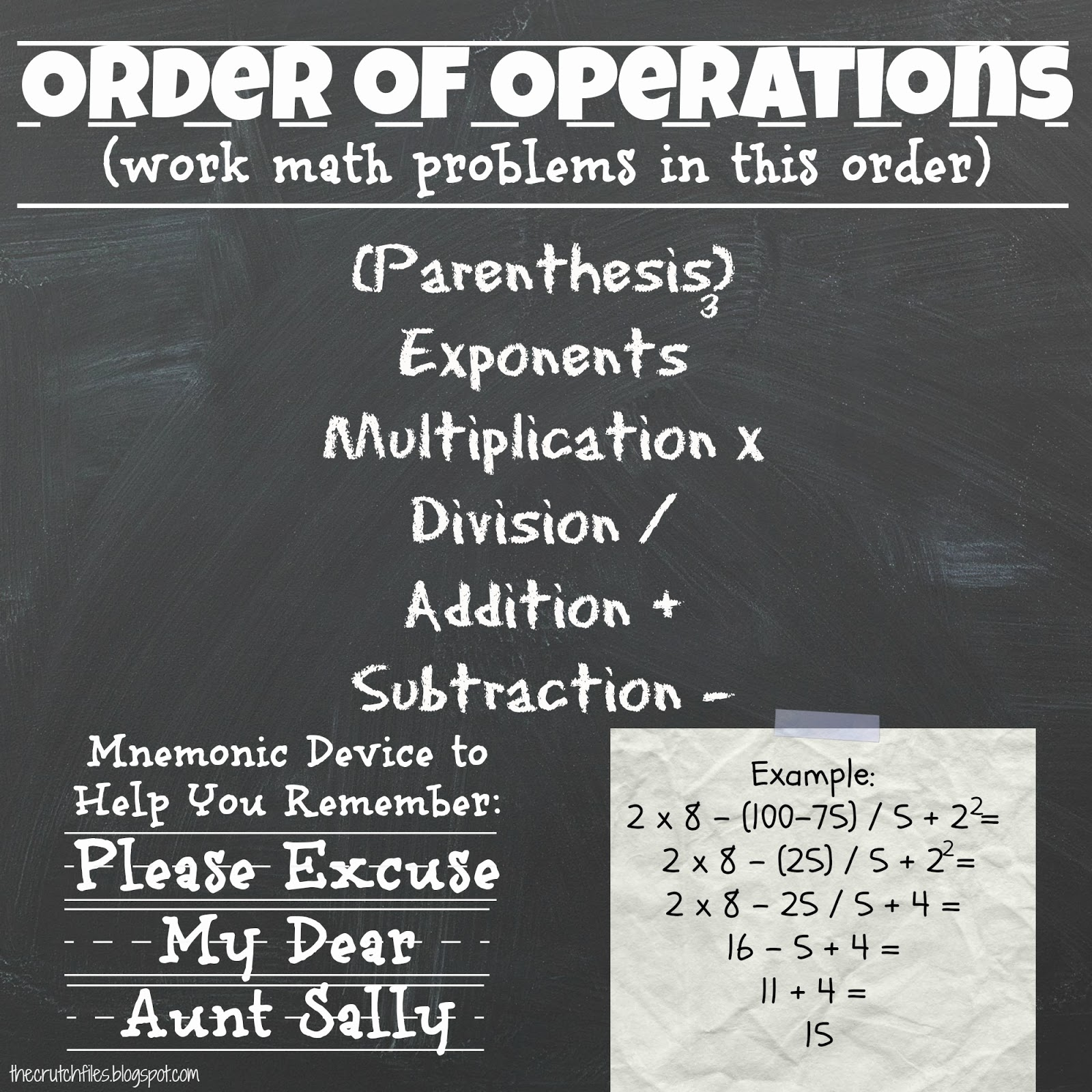 worksheet Order Of Operations Pdf the crutch files order of operations poster so i dont know how to make this a pdf file for you if want copy email me or message on facebook and ill get it you