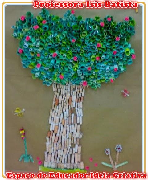 Árvore de sobras de papel sulfite Reciclagem Espaço do Educador