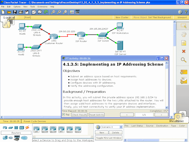"Figure 2 Packet Tracer ""Activity"" File, view of network and"