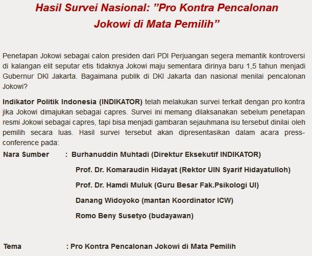 """INDICATOR : """"Pro Kontra Pencalonan Jokowi di Mata Pemilih"""""""