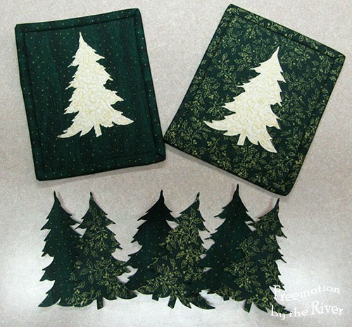 Evergreen trees and mug rugs at Freemotion by the River