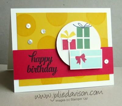Stampin' Up! Your Presents Birthday Card from 2015 Holiday Catalog #stampinup Stamp of the Month Club Card Kit www.juliedavison.com