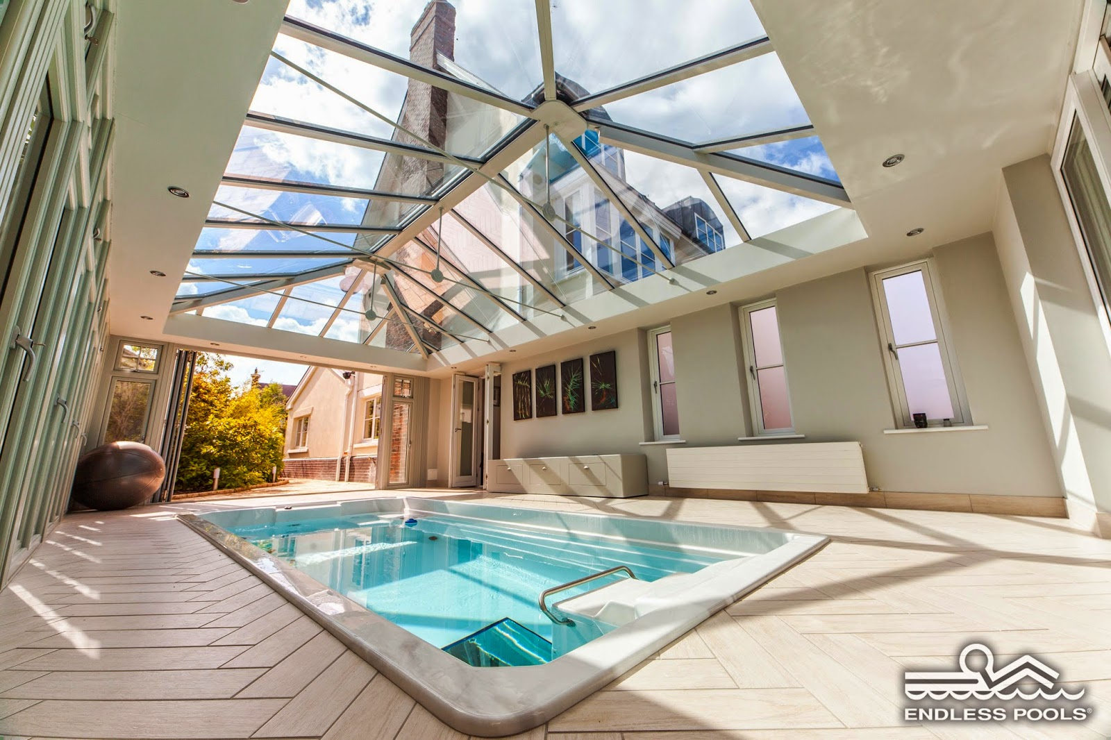 A 17' Endless Pool Swim Spa with plenty of natural light and doors that open out to the courtyard.