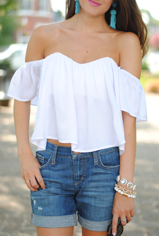 Off the shoulder crop top + denim shorts… perfect summer look