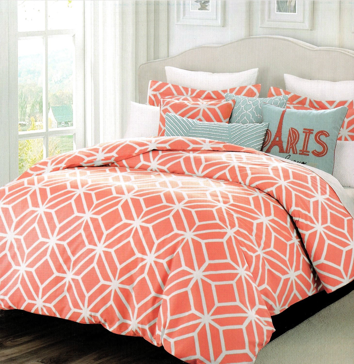 1 Solid Colored Peach Bedspread And 2 Pillow Shams