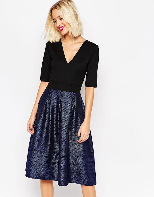 all in one dress, black top metallic skirt dress, metallic midi dress,