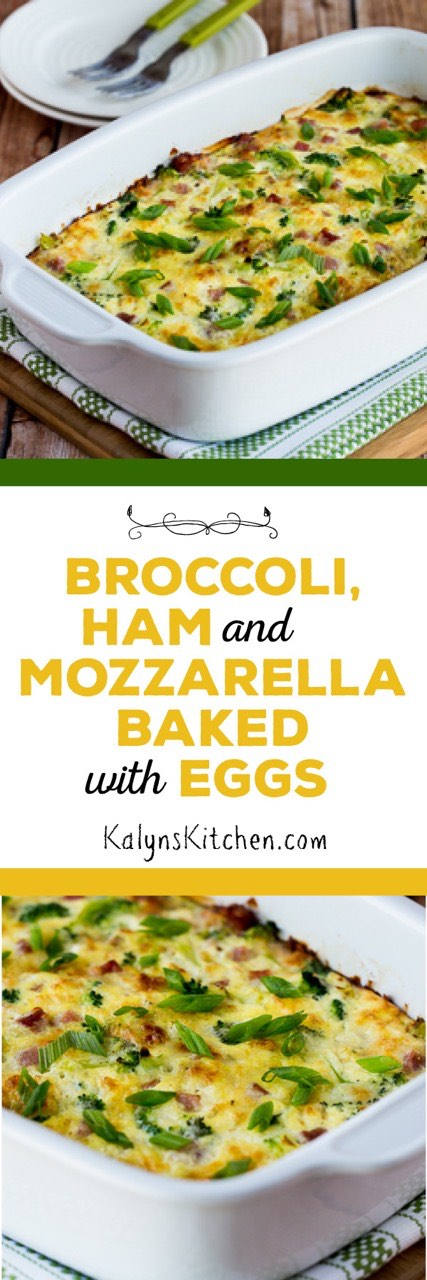 Broccoli, Ham, and Mozzarella Baked with Eggs [found on KalynsKitchen ...