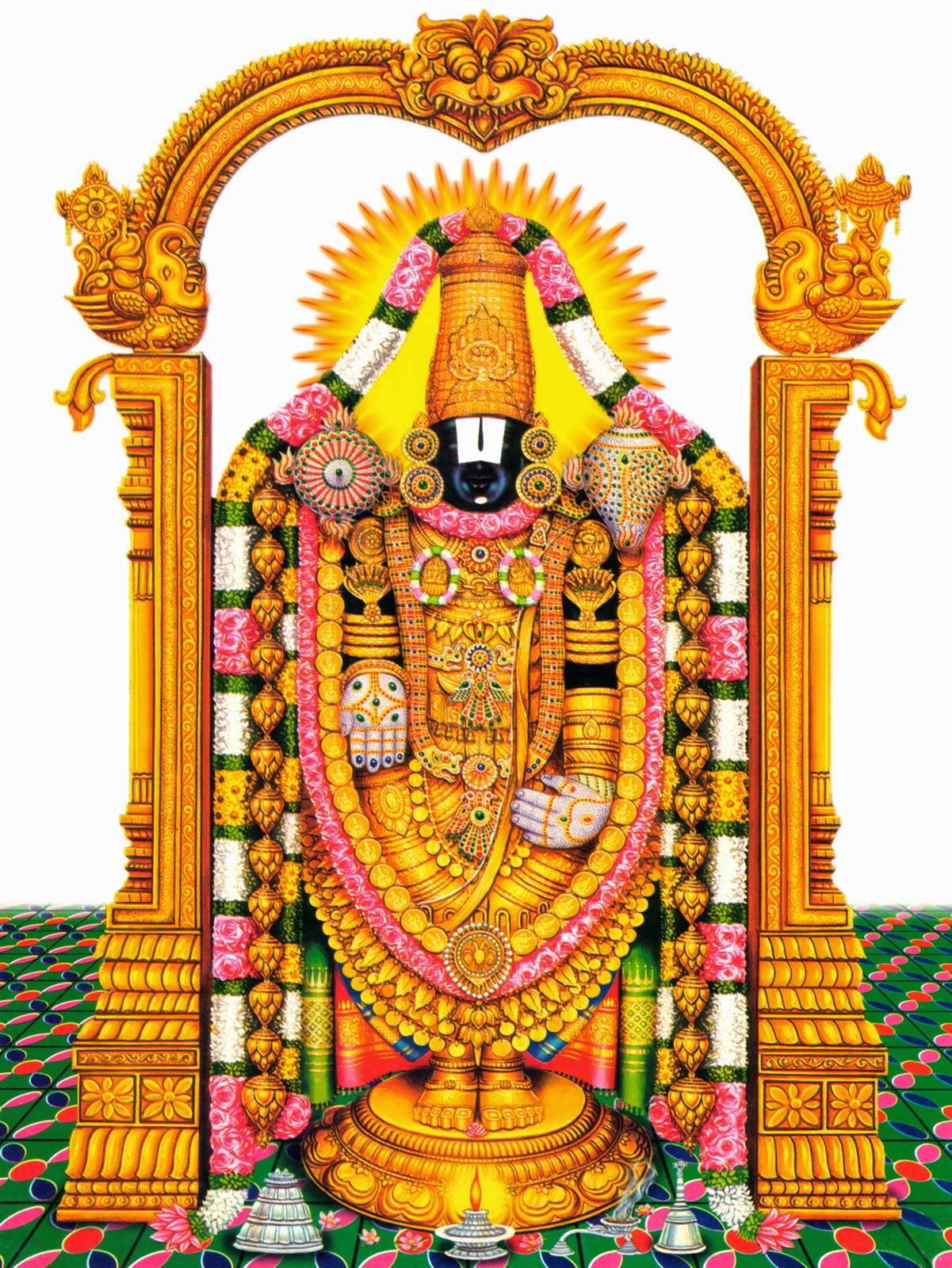 Indian Hindu God Lord Tirupati Venkatachalapathy Venkateswara Image High Resolution Desktop Wallpaper Murugan Painting
