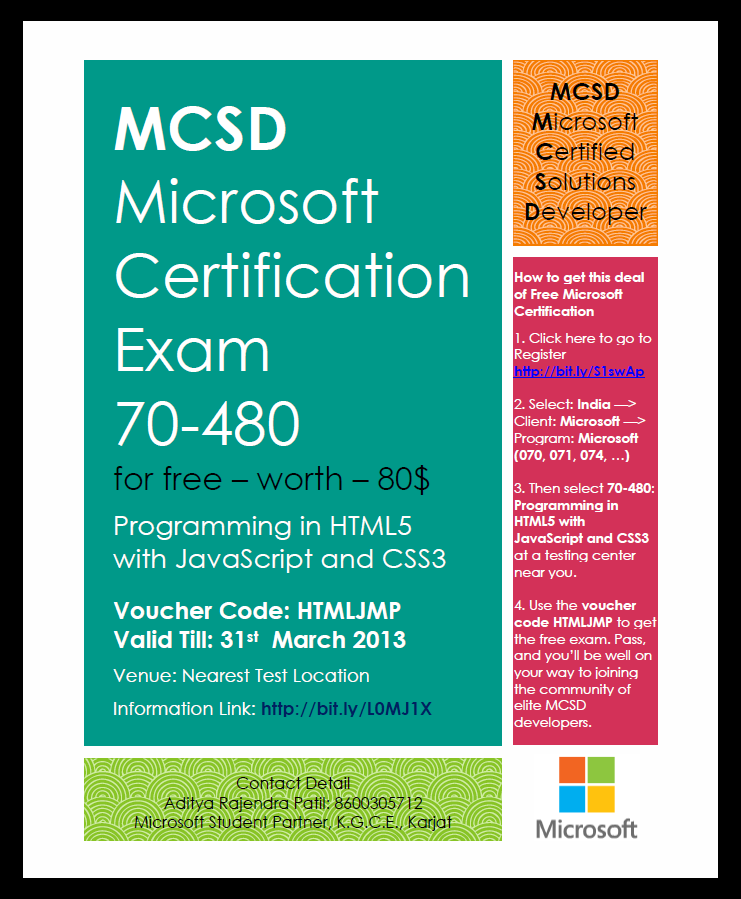 Mcsd Microsoft Certification Exam 70 480 For Free Information