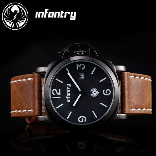 INFANTRY Officer Mens Army DATE Quartz Wrist Watch Brown Leather Strap GIFT