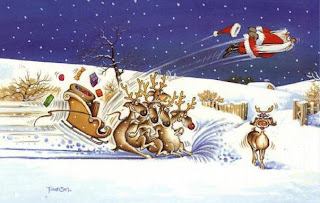 Funny Father Christmas Reindeer Cartoon Picture