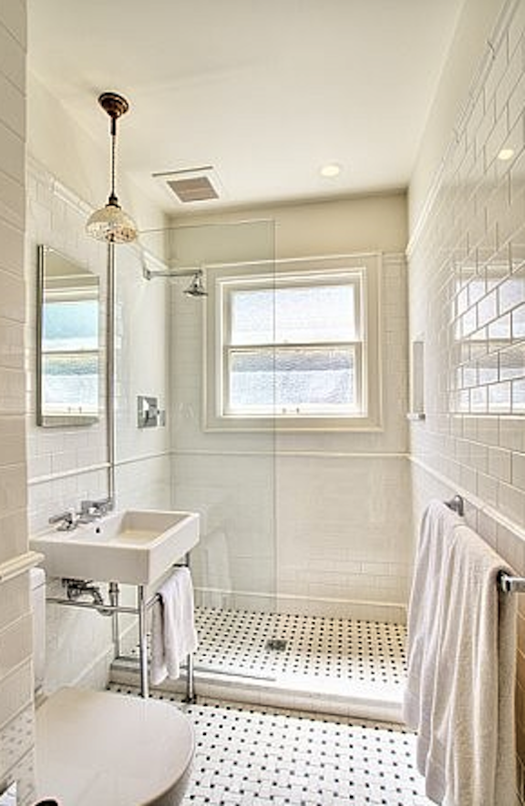 Haute indoor couture windows in showers for Classic small bathroom ideas