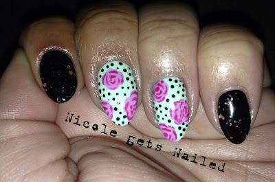 Vintage Pink Roses on Mint Green with Black Polka Dots