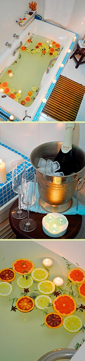 Festa na banheira: momento relaxante com comidinhas e espumante