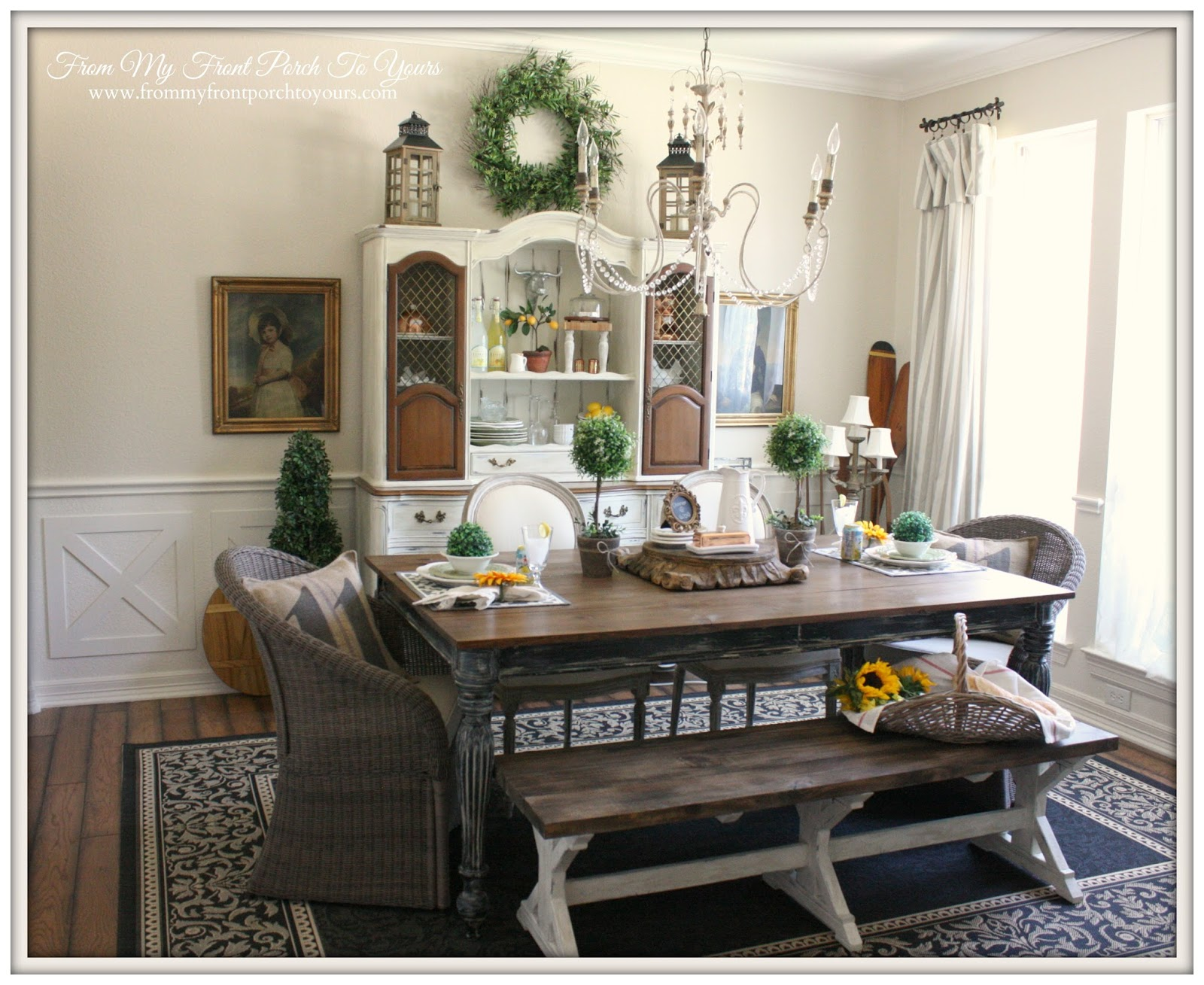 From my front porch to yours french farmhouse dining room for Farmhouse dining room ideas