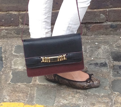 messenger bag, french sole, zara, jbrand, white jeans, burgundy bag, snake print, sneak print flats, sneak print ballarinas