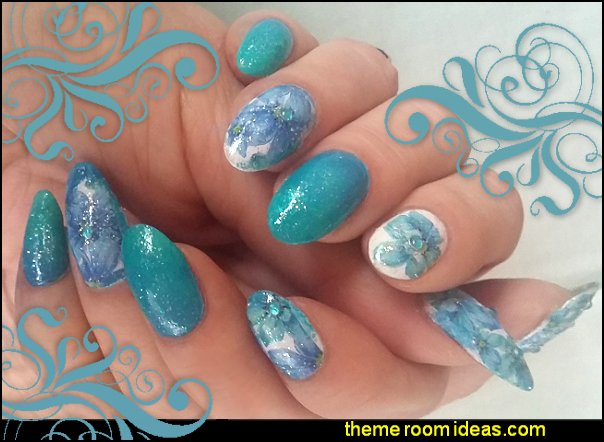 Decorating theme bedrooms maries manor nail decals nail art nail water decals blue green floral nails nail stickers nail design ideas prinsesfo Image collections