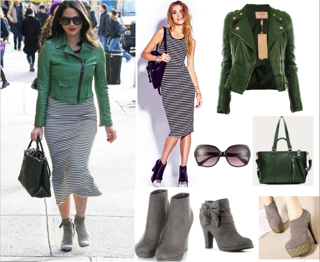 Olviva Munn - celebrity style - copycat queen v - green jacket