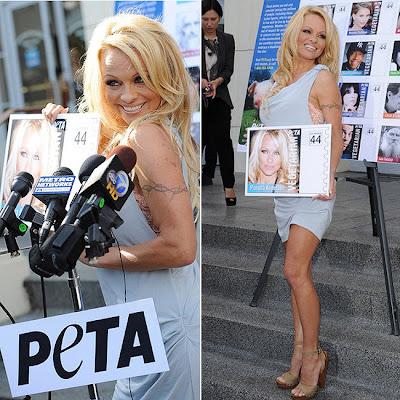 Pamela Anderson no lançamento do selo que leva sua estampa
