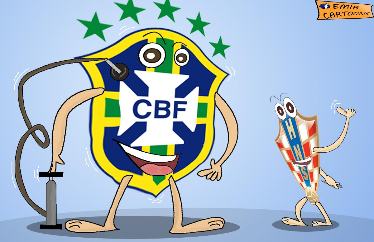 BRAZIL - HRVATSKA,SVJETSKO PRVENSTVO 2014, BRAZIL,MUNDIJAL, PRENOS ,KARIKATURE FUDBAL,EMIR BALKAN CARTOONS,EMIR CARTOONS,