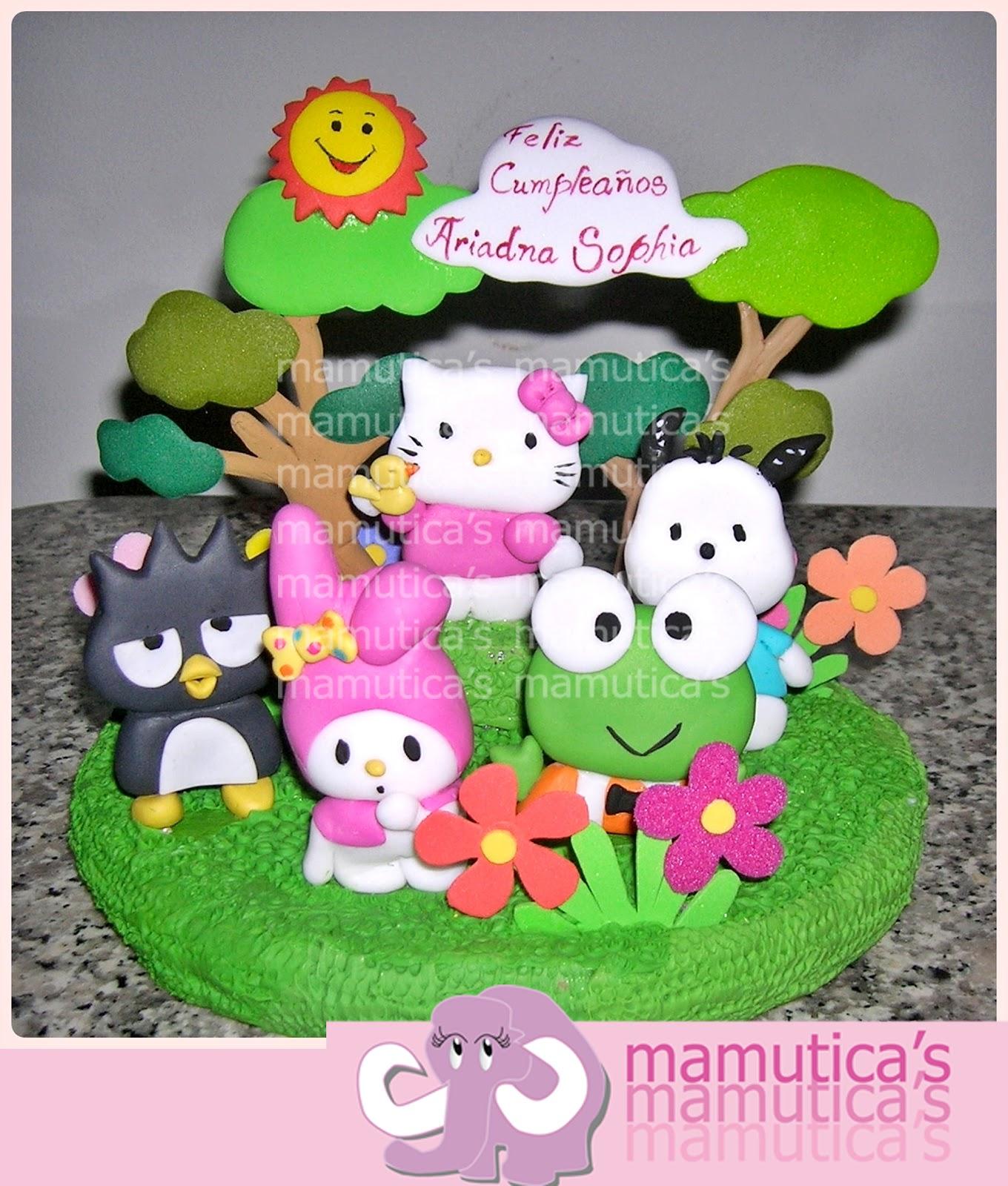 Hello Kitty y sus amigos, para la torta en masa flexible y foami