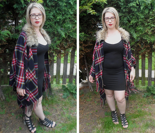 River Island Tartan Cape; Sol Sana Sandals, ASOS Black Dress