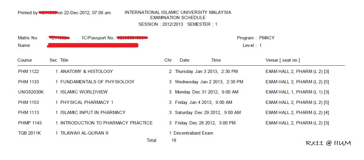 Rx11 Iium Final Exam Begin