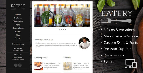 Free Download Eatery V2.2 Responsive Restaurant WordPress Theme