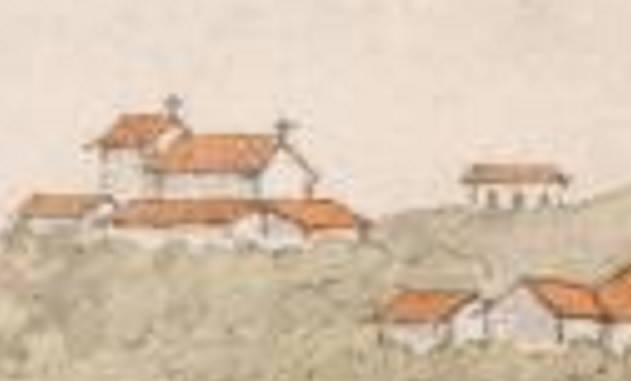 Barbacena c.1820. Pintura por Henry Chamberlain. À direita a Igreja de N. S. do Rosário dos Homens