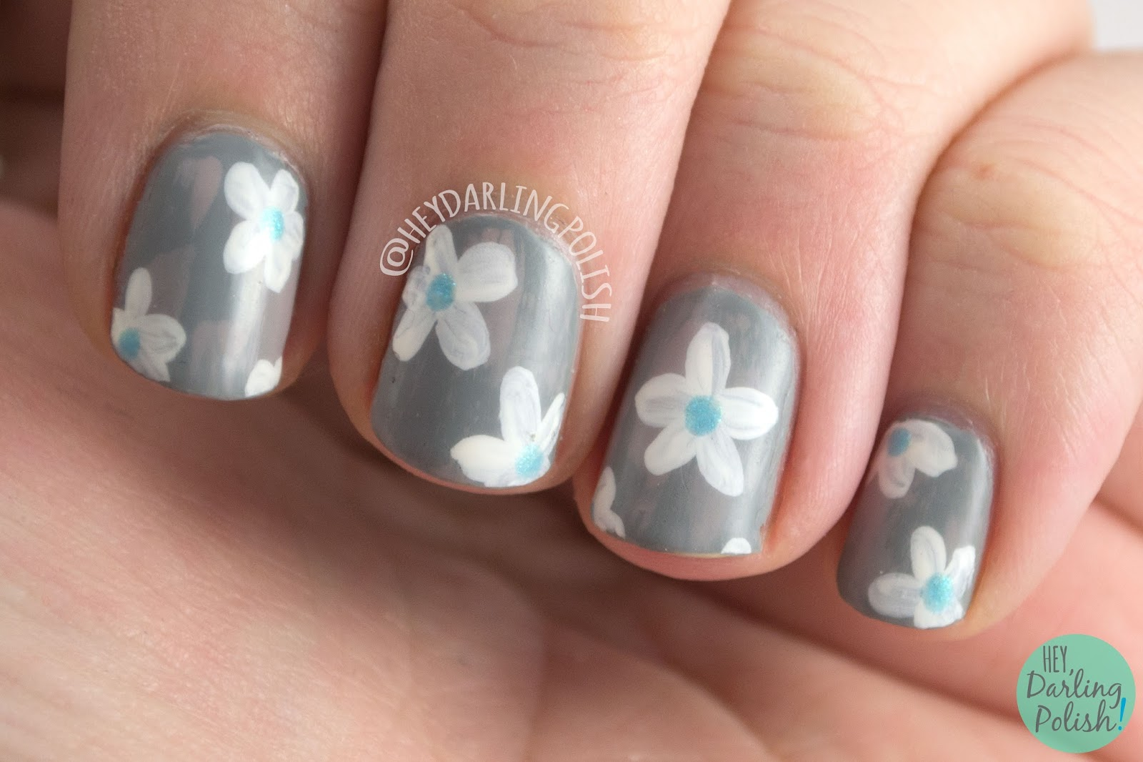 nails, nail art, nail polish, floral, flowers, zoya, satins, hey darling polish, distressed brushstroke, neutral, freehand