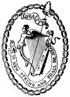The Society of United Irishmen's symbol; here, the woman on the harp wears a cap of liberty instead of a crown. (http://www.hubert-herald.nl/EIRE.htm)