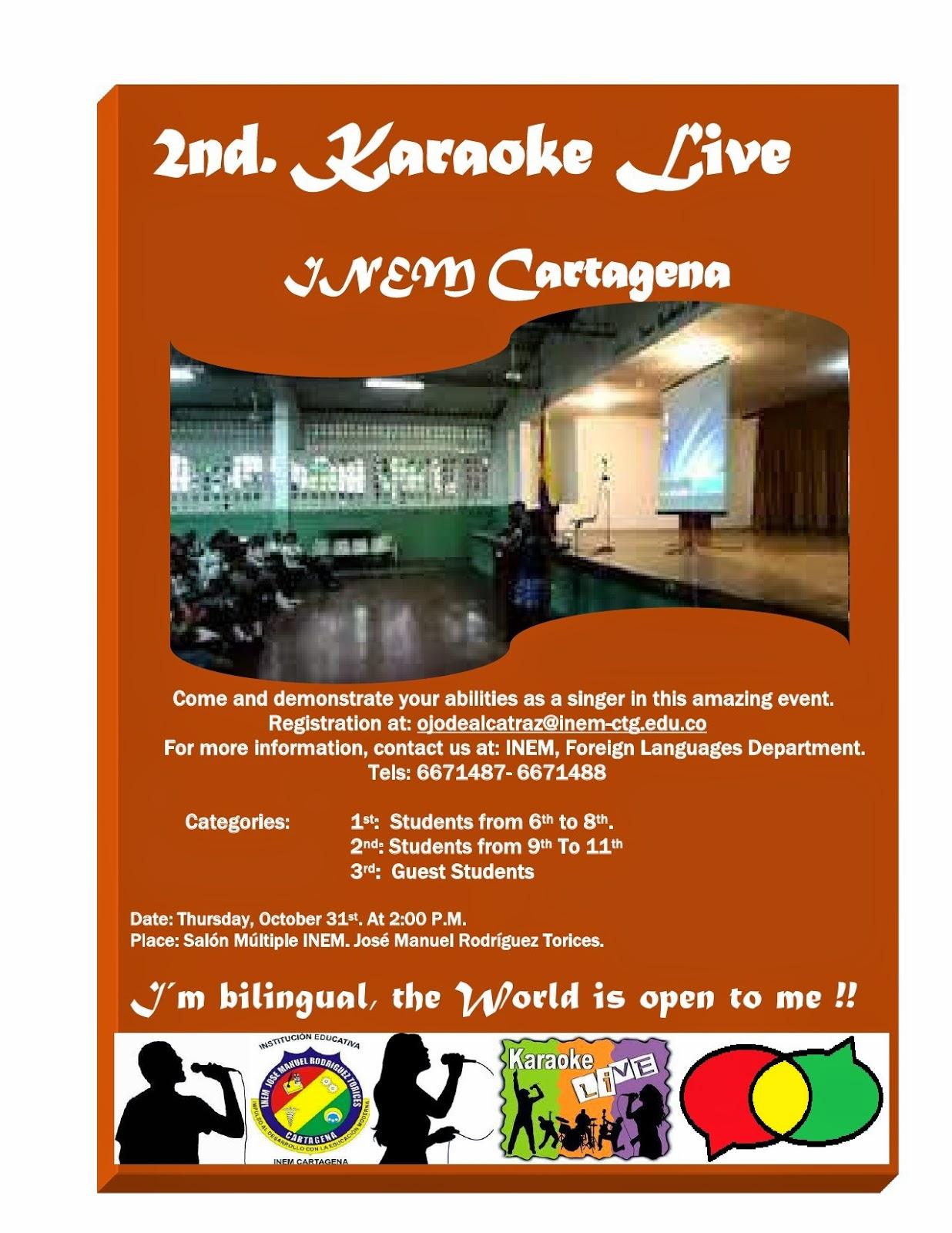 "SE ACERCA EL 2do. FESTIVAL DE KARAOKE EN INGLÉS ""2nd: KARAOKE LIVE FESTIVAL - INEM CARTAGENA"""