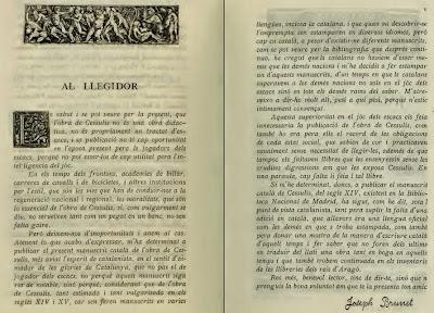 Prólogo de Josep Brunet del libro De les costums dels homes i oficis dels noble