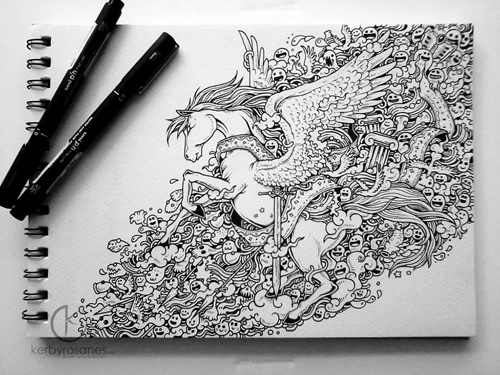 Dear Friends I Shall Leave You For The Weekend With These Amazing Doodles By Philippines Based Illustrator Kerby Rosanes He Draws Detailed