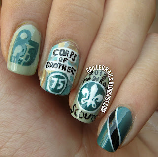 grillednails grilled nails hector alfaro n san antonio madison scouts 2013 nail art design dci drum corps international green manicure mani