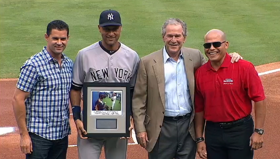 President Bush surprises Jeter