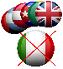 tante bandiere sul fondo e la bandiera italiana in primo piano con una croce che la cancella sopra