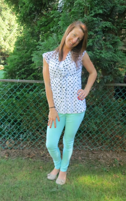 Mint pants polka dot shirt outfit